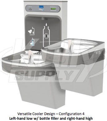 Elkay EZH2O LZSTL8WSLK Filtered Dual-Station Drinking Fountain with  Bottle-Filling Station
