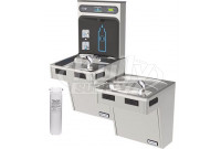 Halsey Taylor HydroBoost HTHB-HAC8BLSS-WF Filtered Stainless Steel Dual Drinking Fountain with Bottle Filler