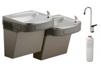 Elkay LZSTL8LFC Filtered Dual Drinking Fountain with Glass Filler