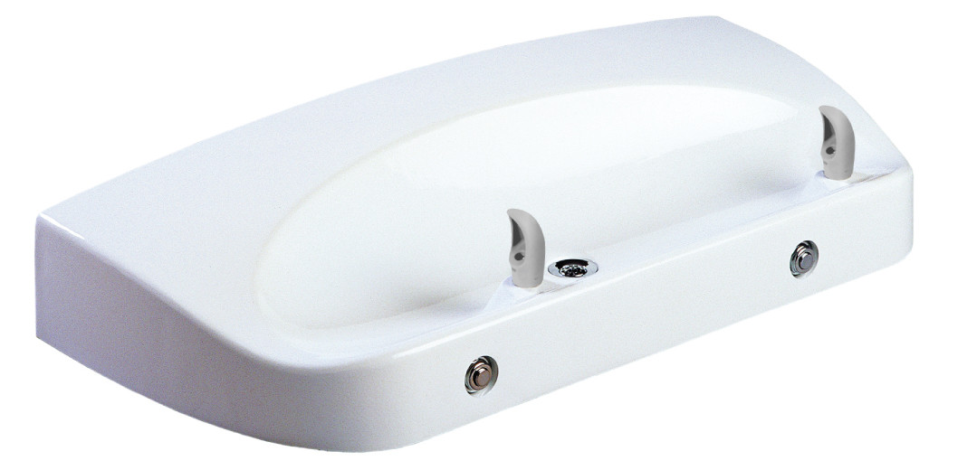 Oasis F702PM Non-Refrigerated Two Station In-Wall Drinking Fountain