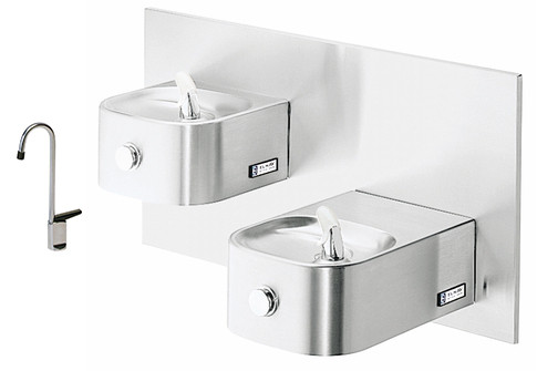 Elkay EDFP217FC NON-REFRIGERATED In-Wall Dual Drinking Fountain with Glass Filler