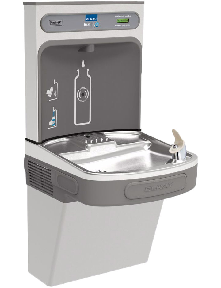 Elkay EZH20 LZS8WSSK Filtered Stainless Steel Drinking Fountain with Bottle Filler