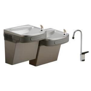 Elkay EZSTLDDLFC Non-Refrigerated Dual Drinking Fountain with Glass Filler