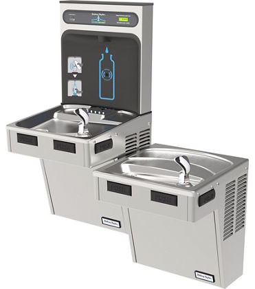 Halsey Taylor HydroBoost HTHB-HAC8BLSS-NF Stainless Steel Dual Drinking Fountain with Bottle Filler