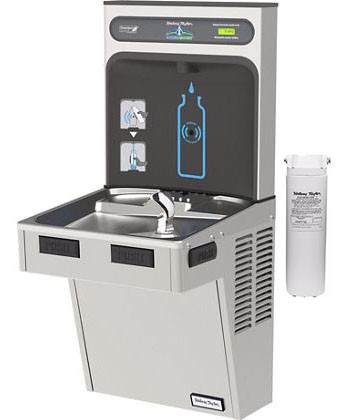 Halsey Taylor HydroBoost HTHB-HAC8WF-SS Filtered Stainless Steel Drinking Fountain with Bottle Filler