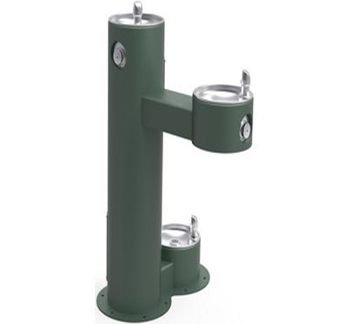 Elkay LK4420DB Two-Station Tubular Steel Drinking Fountain w/ Dog Bowl- Evergreen
