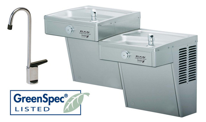 Elkay VRCGRNTL8FC GreenSpec Vandal-Resistant Dual Drinking Fountain with Glass Filler